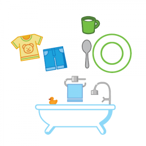 drawing of bathtub plate and child's clothes