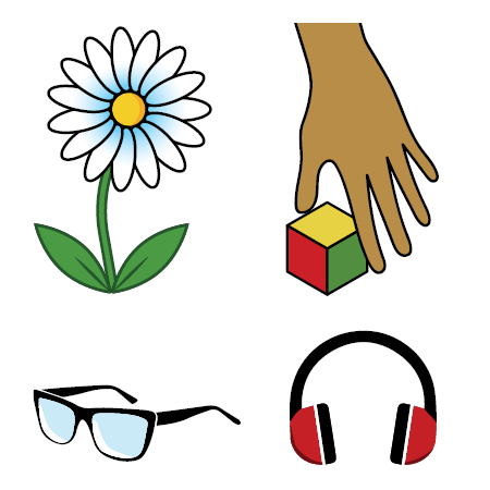 drawing of hand, sunglasses, earphones, and flower