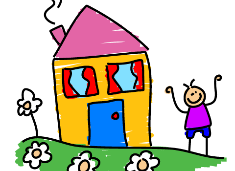 drawing of house and person