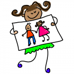 drawing of girl with drawing of two children holding hands