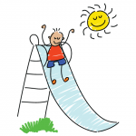drawing of child on slide
