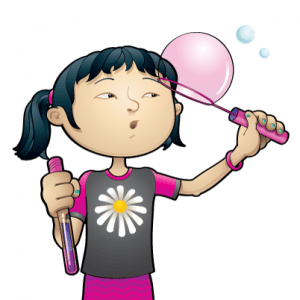 cartoon of child with bubbles