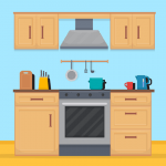 drawing of a kitchen