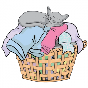 drawing of a basket with laundry