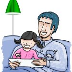 drawing of father with child