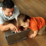 dad baby laptop