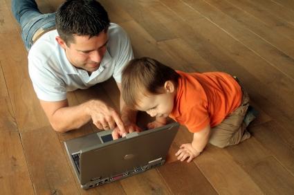 dad baby laptop
