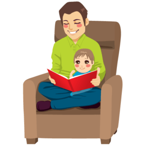 drawing of father reading to child